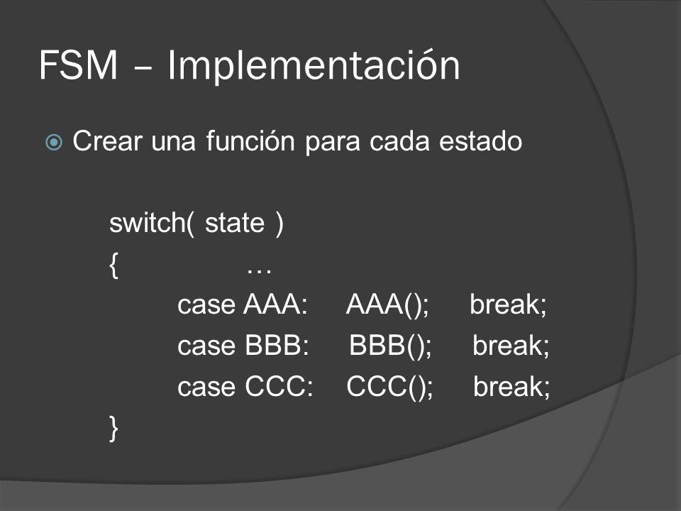 FSM – Implementación Crear una función para cada estado switch( state ) {… case AAA: AAA(); break; case BBB: BBB(); break; case CCC: CCC(); break; }