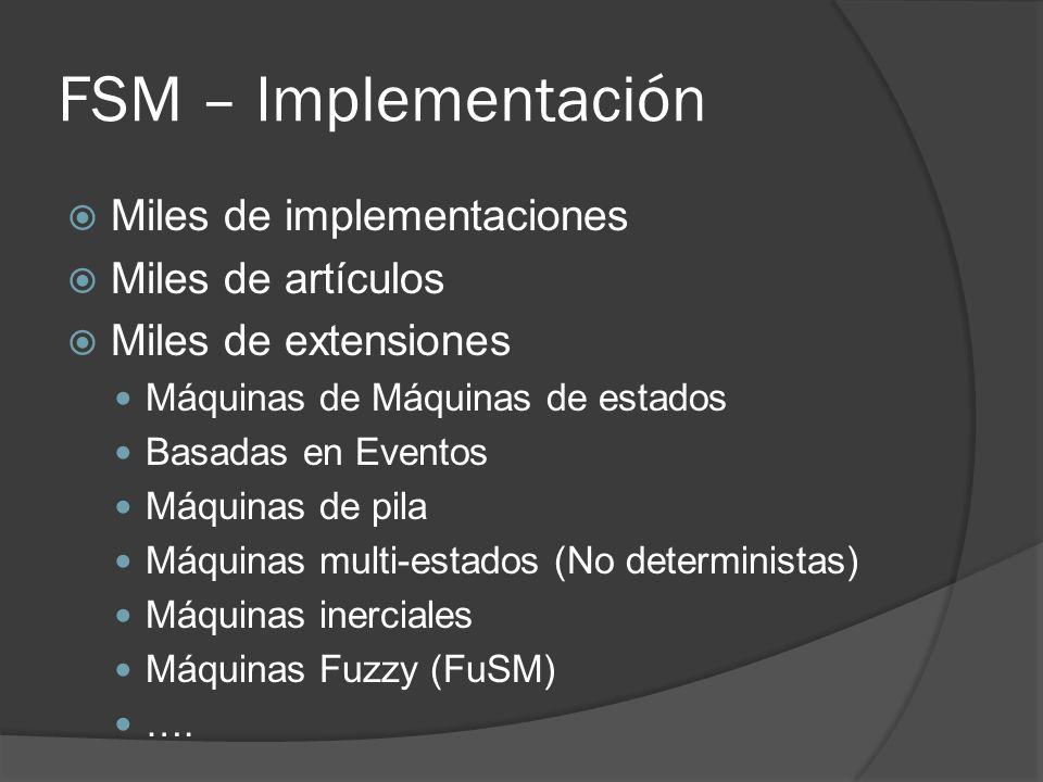 FSM – Implementación Miles de implementaciones Miles de artículos Miles de extensiones Máquinas de Máquinas de estados Basadas en Eventos Máquinas de