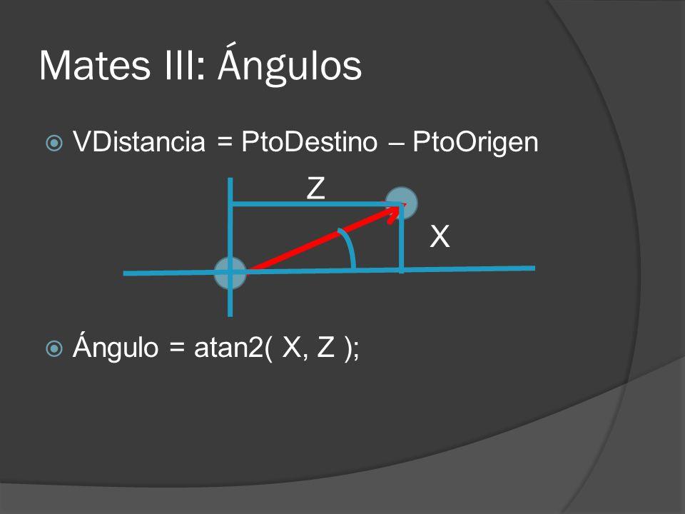 Mates III: Ángulos VDistancia = PtoDestino – PtoOrigen Ángulo = atan2( X, Z ); X Z