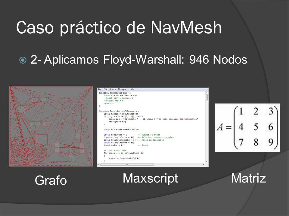 Caso práctico de NavMesh 2- Aplicamos Floyd-Warshall: 946 Nodos Grafo MaxscriptMatriz