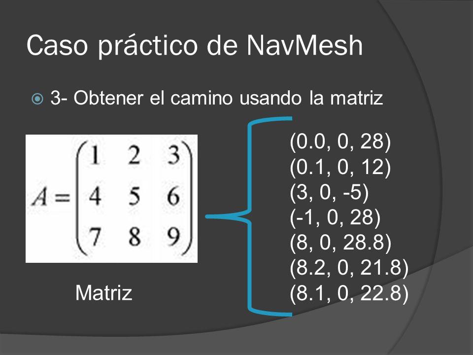 Caso práctico de NavMesh 3- Obtener el camino usando la matriz Matriz (0.0, 0, 28) (0.1, 0, 12) (3, 0, -5) (-1, 0, 28) (8, 0, 28.8) (8.2, 0, 21.8) (8.