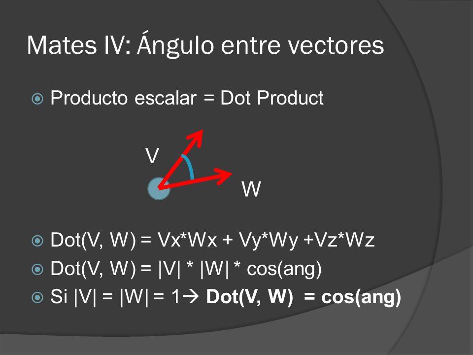 Mates IV: Ángulo entre vectores Producto escalar = Dot Product Dot(V, W) = Vx*Wx + Vy*Wy +Vz*Wz Dot(V, W) = |V| * |W| * cos(ang) Si |V| = |W| = 1 Dot(
