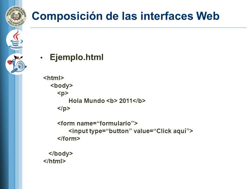 Composición de las interfaces Web Ejemplo.html Hola Mundo 2011