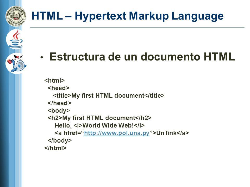 HTML – Hypertext Markup Language Estructura de un documento HTML My first HTML document My first HTML document Hello, World Wide Web.