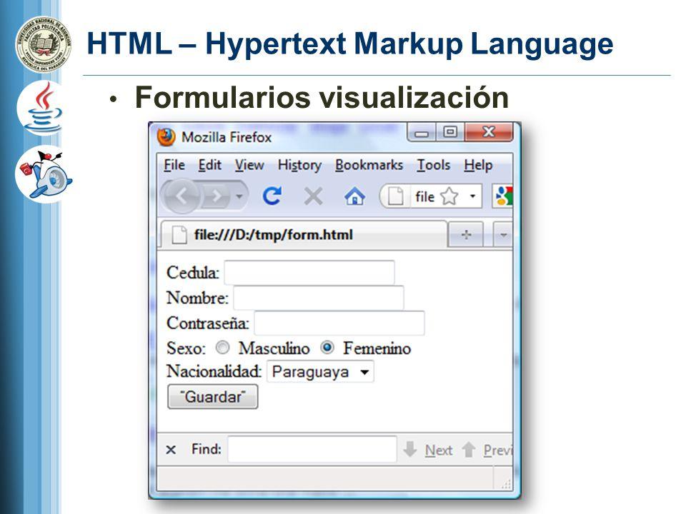 HTML – Hypertext Markup Language Formularios visualización
