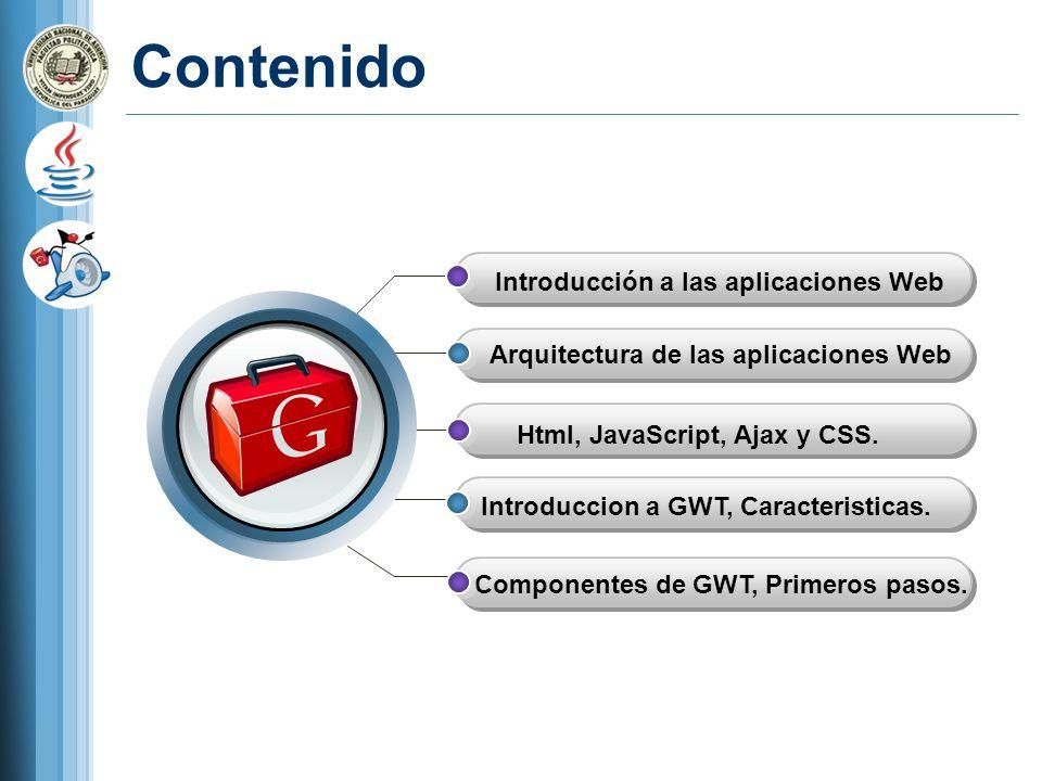 Contenido Introducción a las aplicaciones Web Arquitectura de las aplicaciones Web Introduccion a GWT, Caracteristicas.