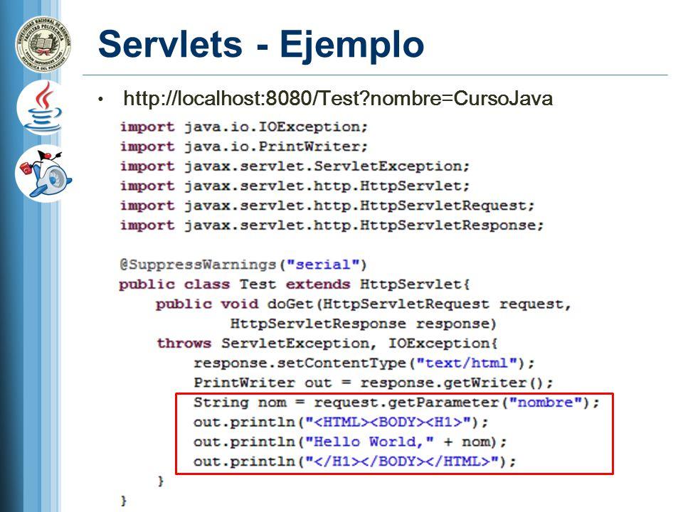 Servlets - Ejemplo http://localhost:8080/Test?nombre=CursoJava