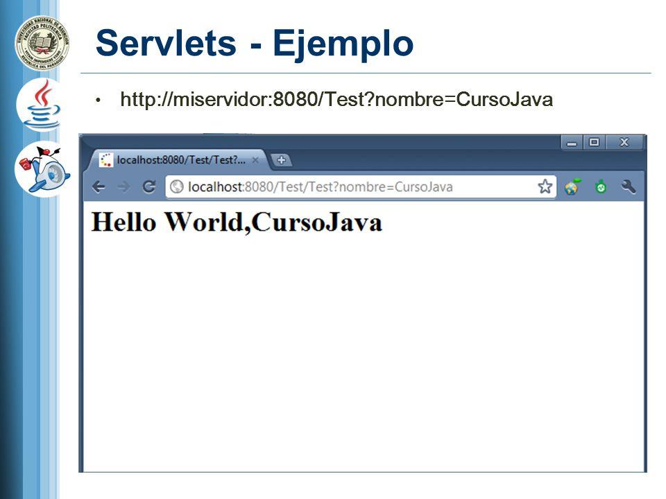 Servlets - Ejemplo http://miservidor:8080/Test?nombre=CursoJava