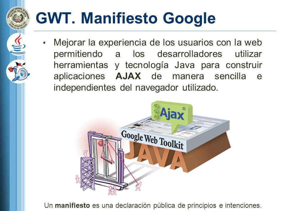 GWT. Manifiesto Google Mejorar la experiencia de los usuarios con la web permitiendo a los desarrolladores utilizar herramientas y tecnología Java par