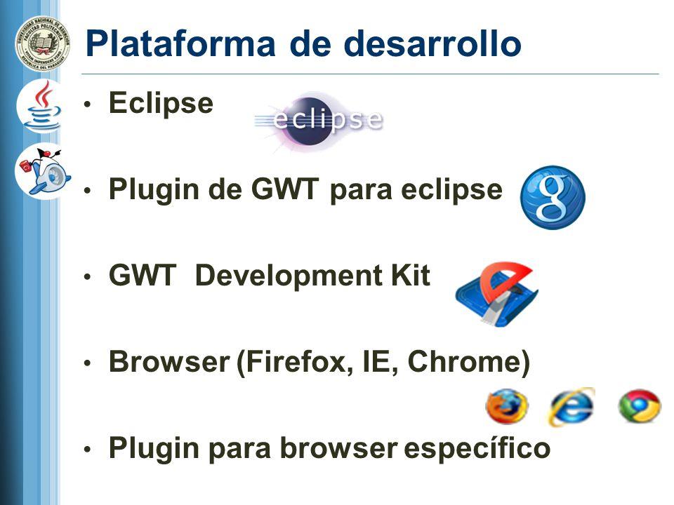 Plataforma de desarrollo Eclipse Plugin de GWT para eclipse GWT Development Kit Browser (Firefox, IE, Chrome) Plugin para browser específico