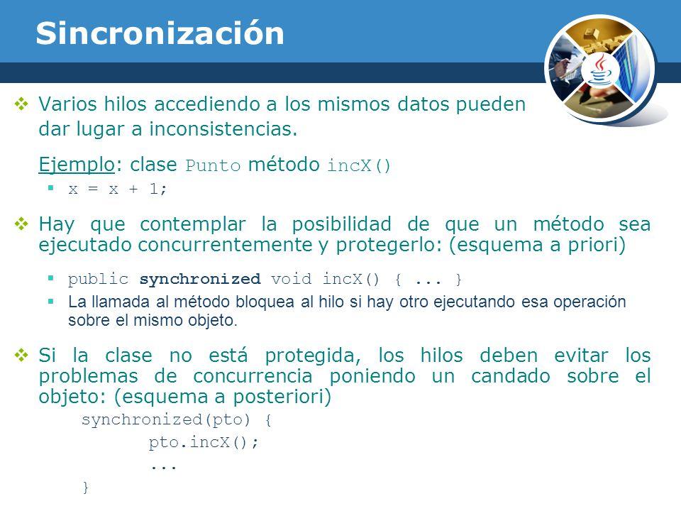 Sincronización Varios hilos accediendo a los mismos datos pueden dar lugar a inconsistencias.