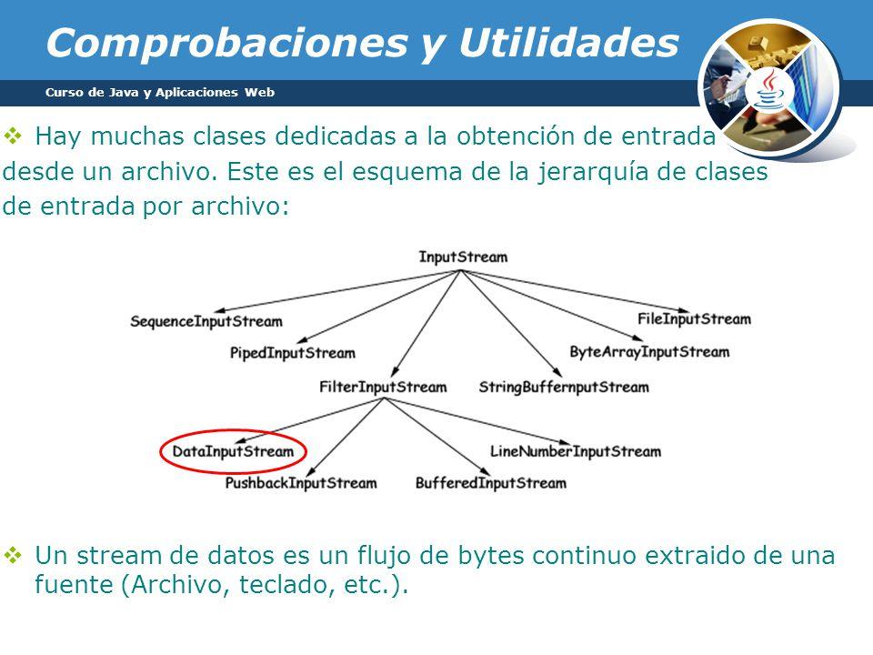 Comprobaciones y Utilidades Hay muchas clases dedicadas a la obtención de entrada desde un archivo.