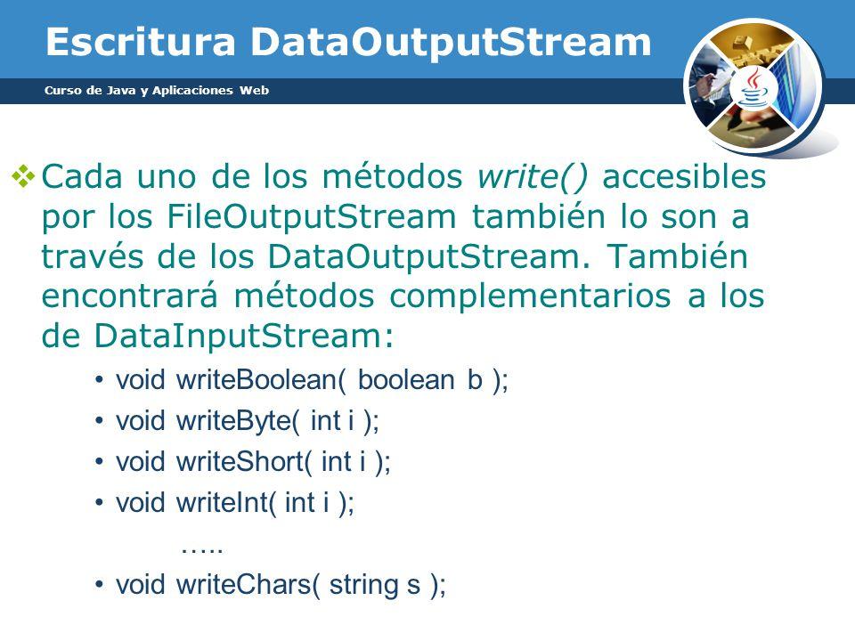 Escritura DataOutputStream Cada uno de los métodos write() accesibles por los FileOutputStream también lo son a través de los DataOutputStream.