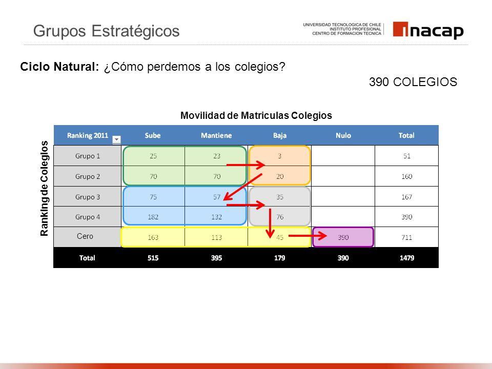 Ranking de Colegios Movilidad de Matriculas Colegios 390 COLEGIOS Grupos Estratégicos Ciclo Natural: ¿Cómo perdemos a los colegios? Cero