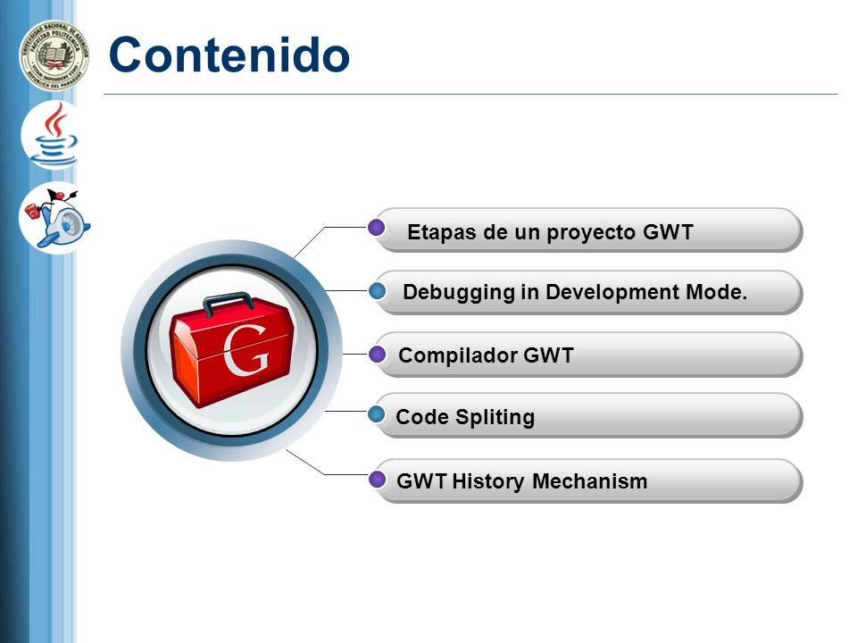 Contenido Etapas de un proyecto GWT Debugging in Development Mode.