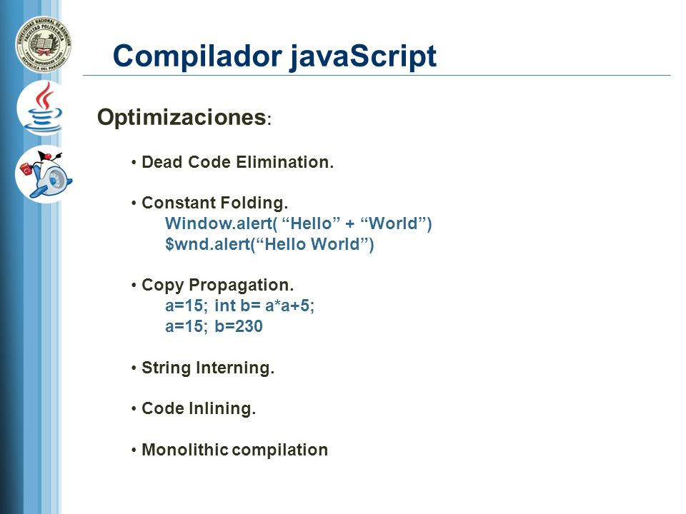Compilador javaScript Optimizaciones : Dead Code Elimination.