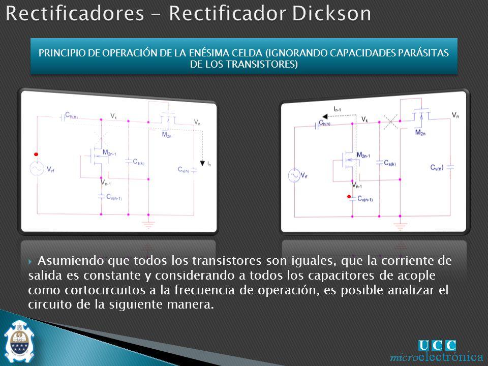 Asumiendo que todos los transistores son iguales, que la corriente de salida es constante y considerando a todos los capacitores de acople como cortocircuitos a la frecuencia de operación, es posible analizar el circuito de la siguiente manera.