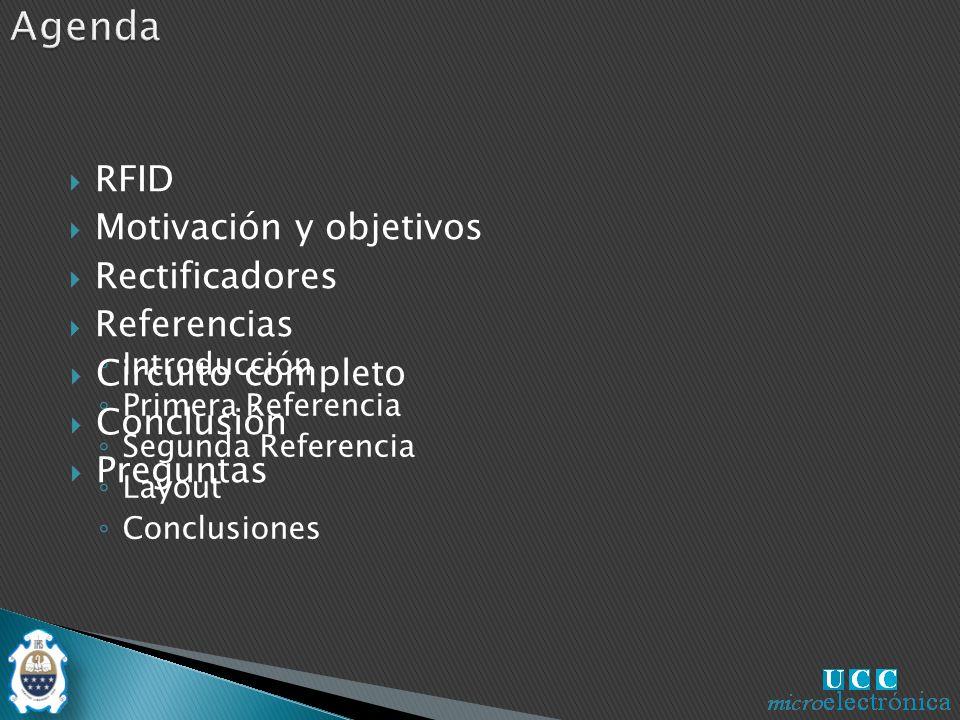 Introducción Primera Referencia Segunda Referencia Layout Conclusiones Circuito completo Conclusión Preguntas RFID Motivación y objetivos Rectificadores Referencias