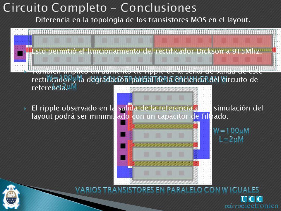 Diferencia en la topología de los transistores MOS en el layout.