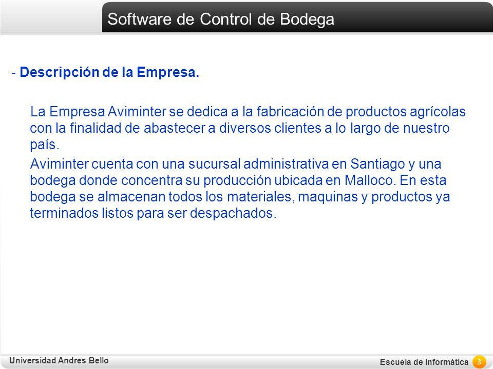 Universidad Andres Bello Escuela de Informática Software de Control de Bodega - Descripción de la Empresa. La Empresa Aviminter se dedica a la fabrica