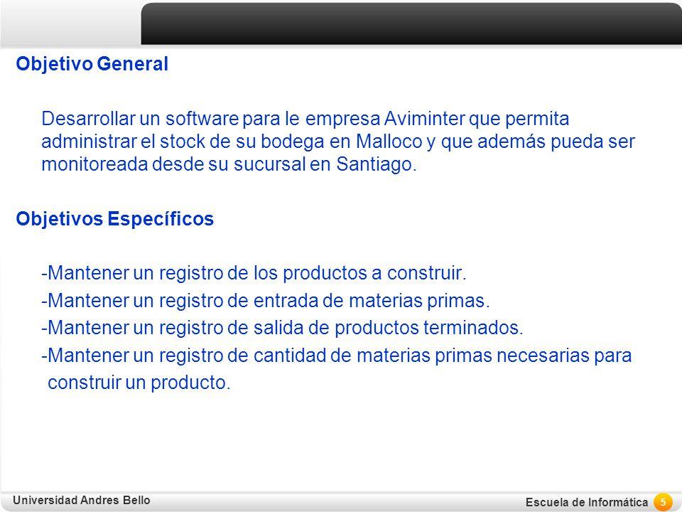 Universidad Andres Bello Escuela de Informática Objetivo General Desarrollar un software para le empresa Aviminter que permita administrar el stock de