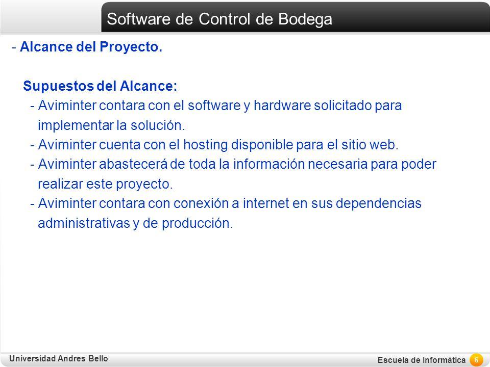 Universidad Andres Bello Escuela de Informática Software de Control de Bodega - Alcance del Proyecto. Supuestos del Alcance: - Aviminter contara con e