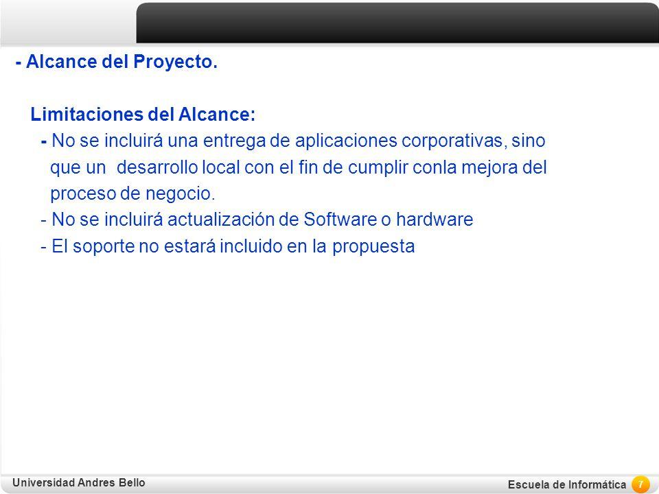 Universidad Andres Bello Escuela de Informática - Alcance del Proyecto. Limitaciones del Alcance: - No se incluirá una entrega de aplicaciones corpora