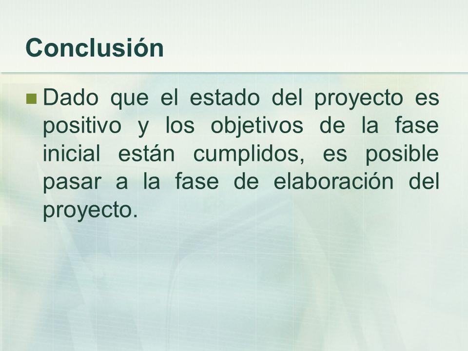 Conclusión Dado que el estado del proyecto es positivo y los objetivos de la fase inicial están cumplidos, es posible pasar a la fase de elaboración d