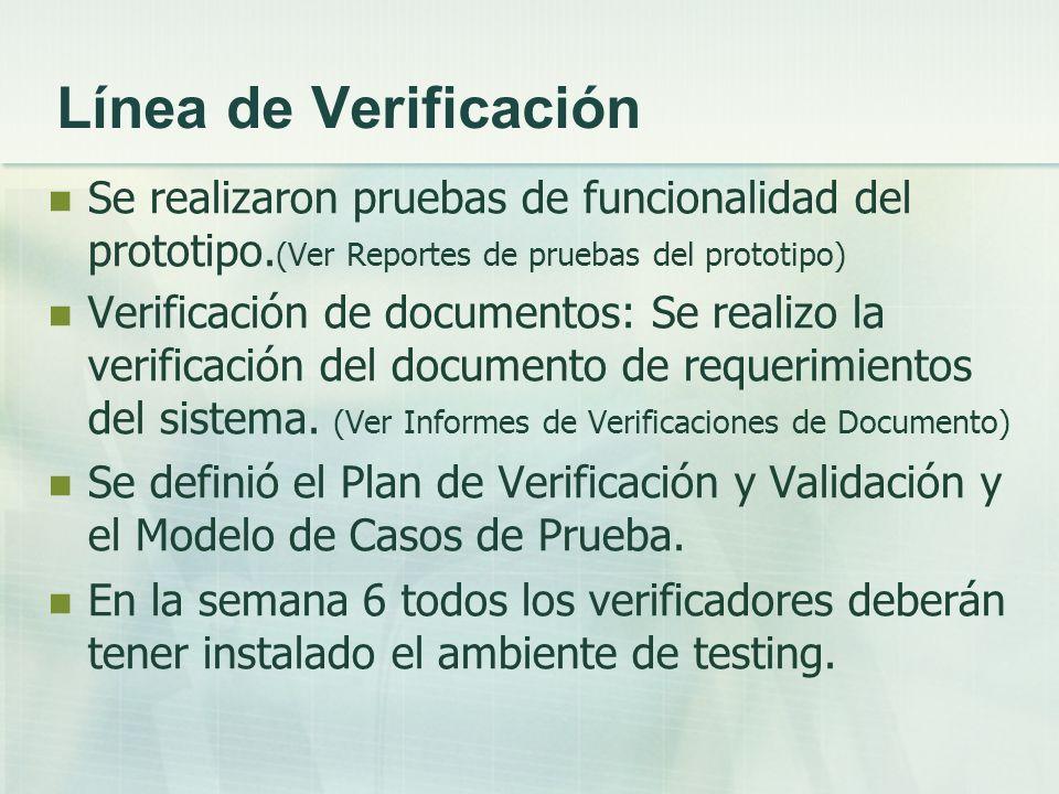 Línea de Verificación Se realizaron pruebas de funcionalidad del prototipo. (Ver Reportes de pruebas del prototipo) Verificación de documentos: Se rea