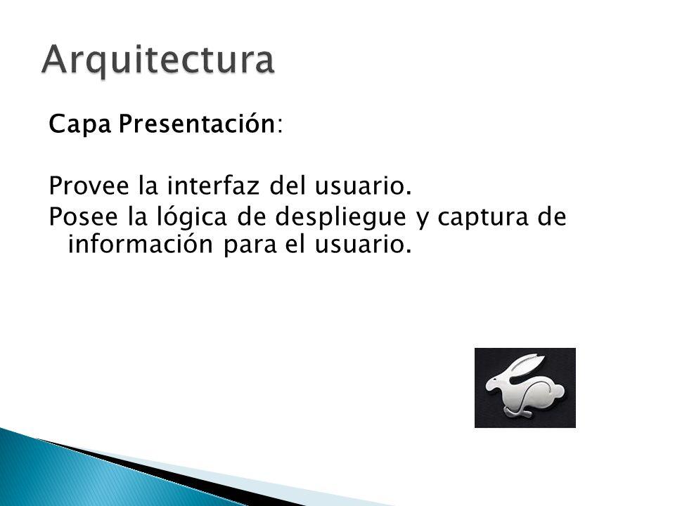 Capa Presentación: Provee la interfaz del usuario. Posee la lógica de despliegue y captura de información para el usuario.