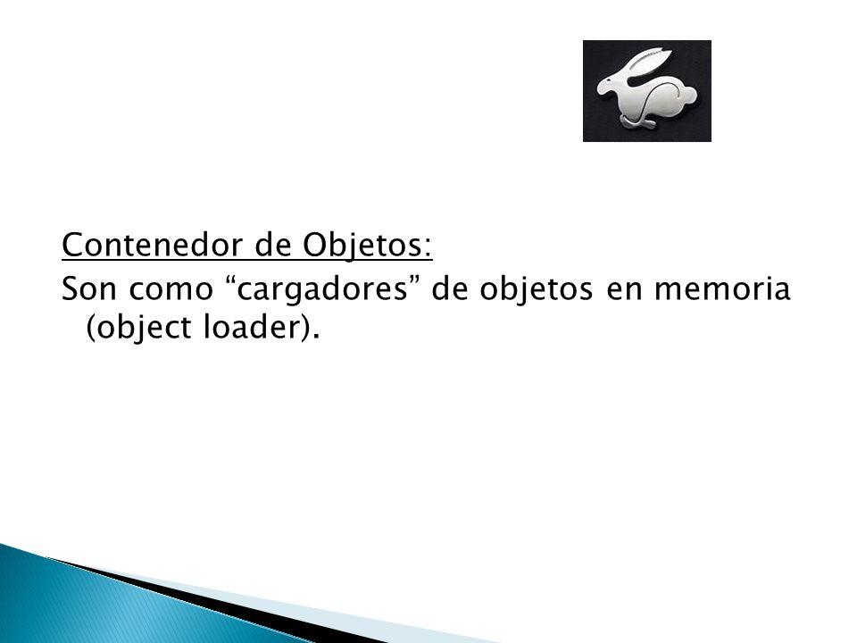 Contenedor de Objetos: Son como cargadores de objetos en memoria (object loader).