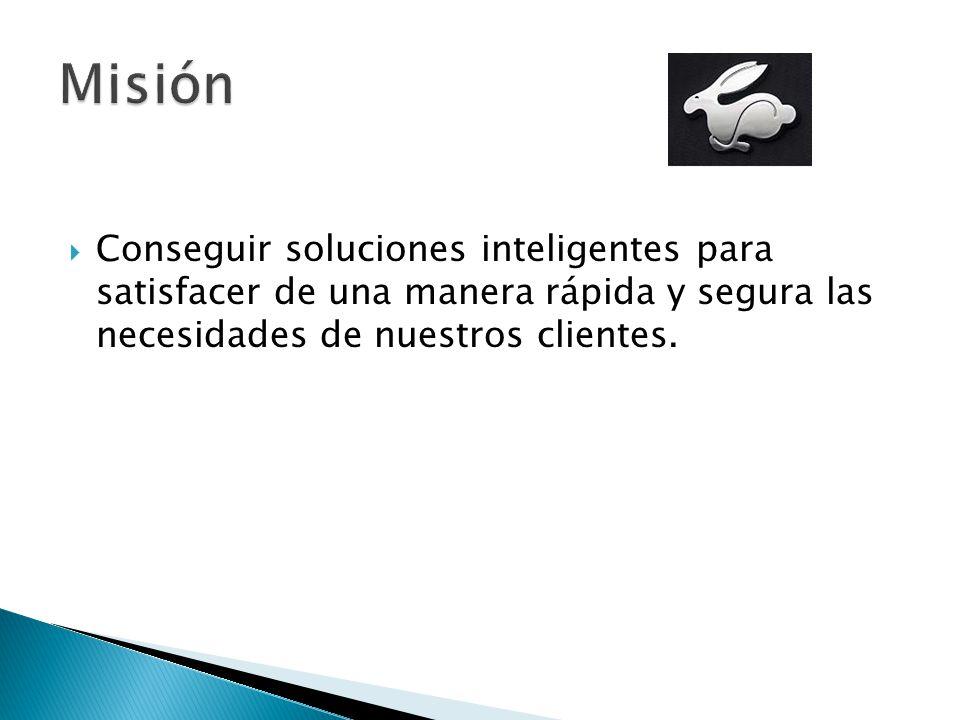 Conseguir soluciones inteligentes para satisfacer de una manera rápida y segura las necesidades de nuestros clientes.