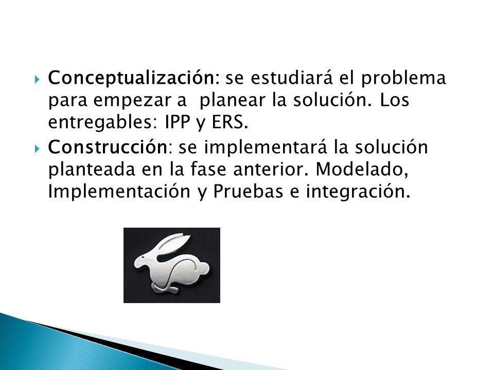 Conceptualización: se estudiará el problema para empezar a planear la solución. Los entregables: IPP y ERS. Construcción: se implementará la solución
