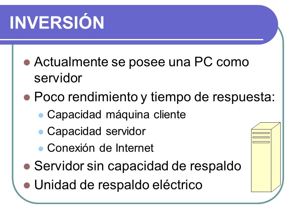 INVERSIÓN Actualmente se posee una PC como servidor Poco rendimiento y tiempo de respuesta: Capacidad máquina cliente Capacidad servidor Conexión de Internet Servidor sin capacidad de respaldo Unidad de respaldo eléctrico