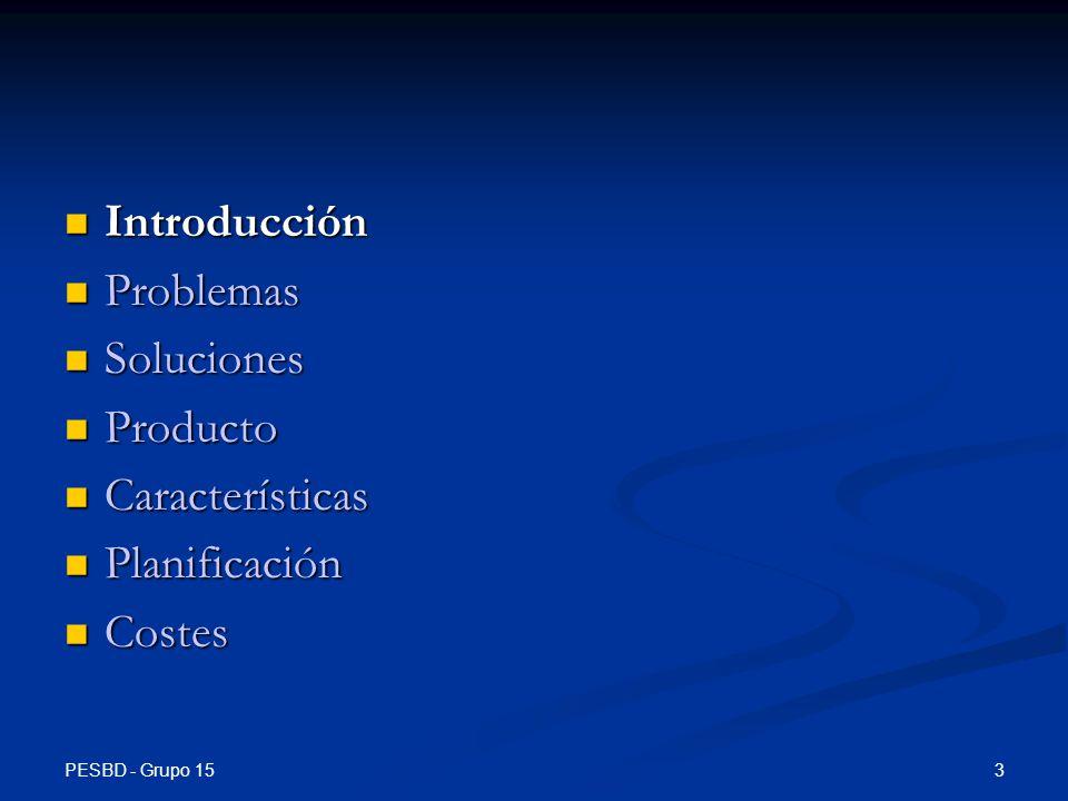PESBD - Grupo 15 14 Introducción Introducción Problemas Problemas Soluciones Soluciones Producto Producto Características Características Planificación Planificación Costes Costes