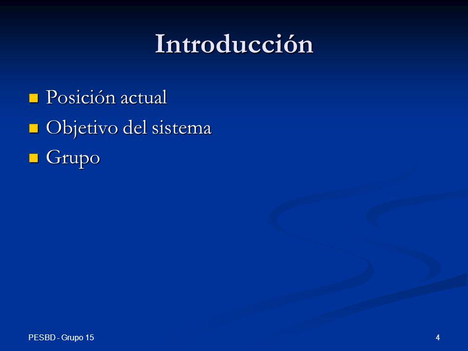 PESBD - Grupo 15 4 Introducción Posición actual Posición actual Objetivo del sistema Objetivo del sistema Grupo Grupo