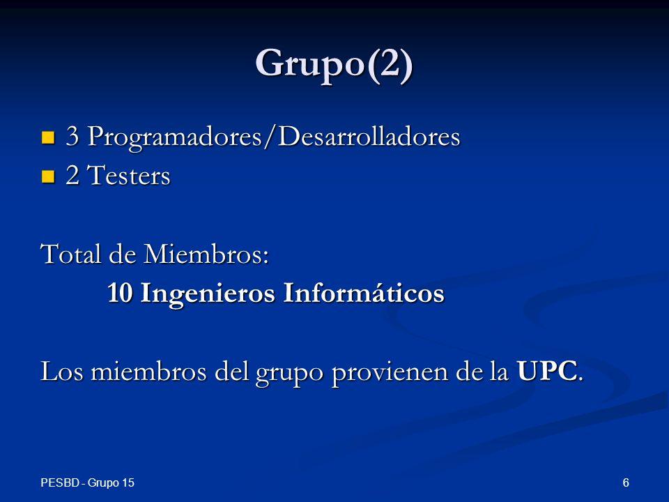 PESBD - Grupo 15 27 Introducción Introducción Problemas Problemas Soluciones Soluciones Producto Producto Características Características Planificación Planificación Costes Costes