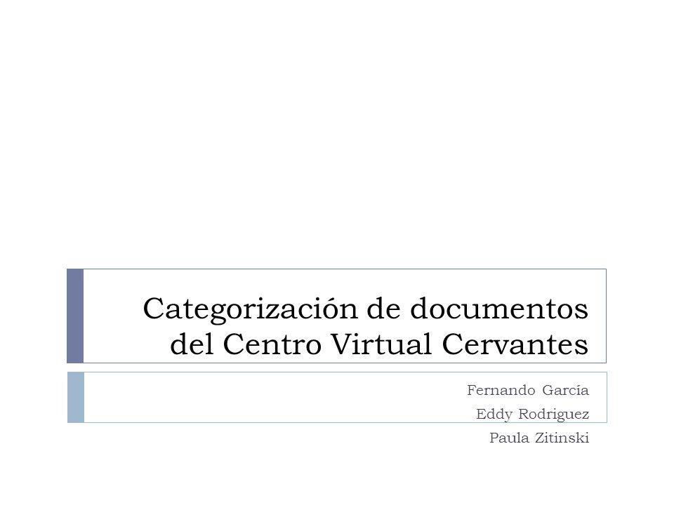 Introducción del proyecto Clasificación de las páginas web del Centro Virtual Cervantes La clasificación actual - incompleta: Música Enseñanza Artes Literatura Lengua