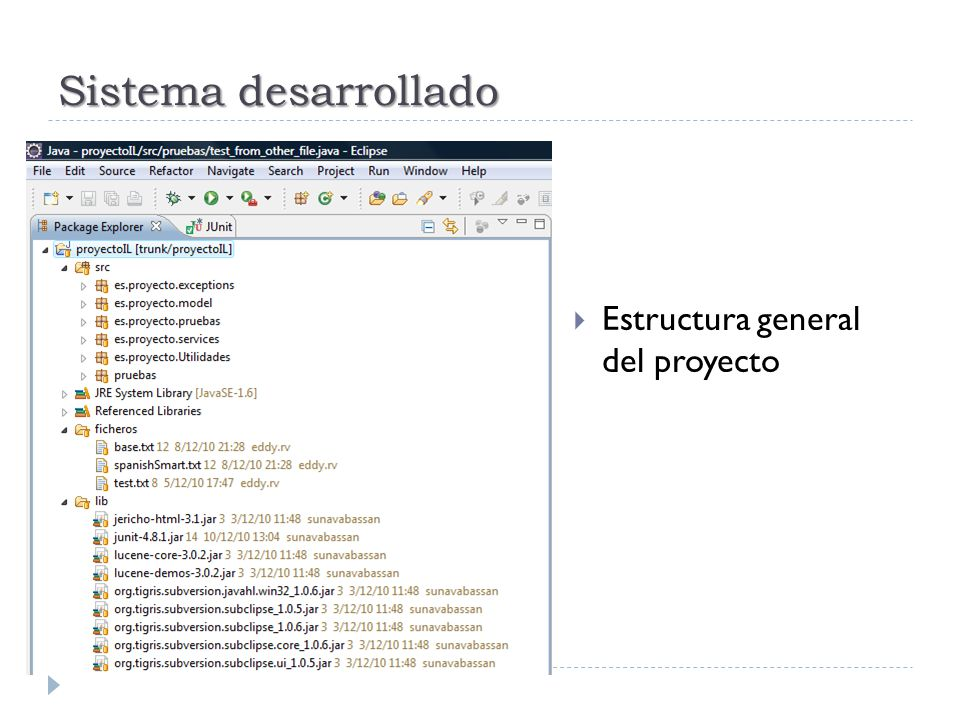 Sistema desarrollado Estructura general del proyecto