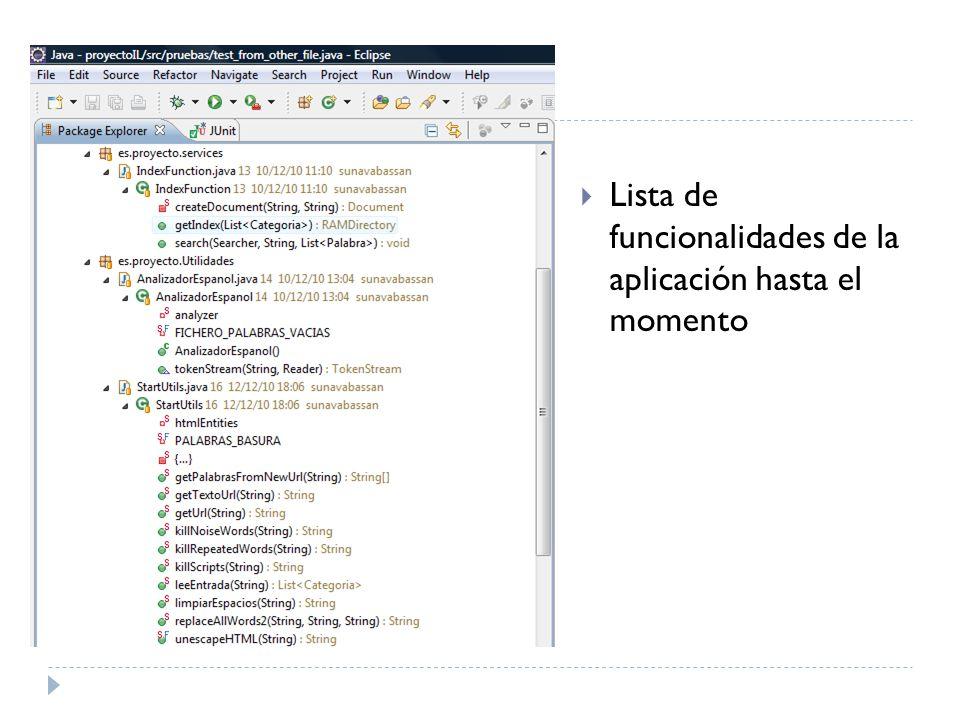 Lista de funcionalidades de la aplicación hasta el momento