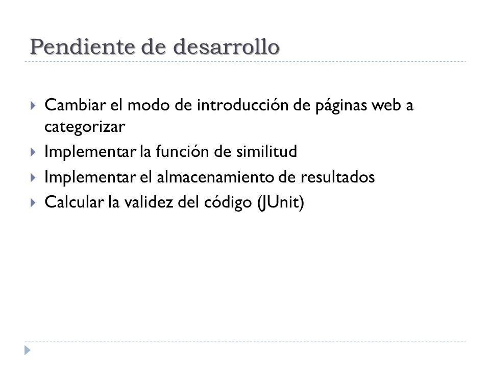 Pendiente de desarrollo Cambiar el modo de introducción de páginas web a categorizar Implementar la función de similitud Implementar el almacenamiento