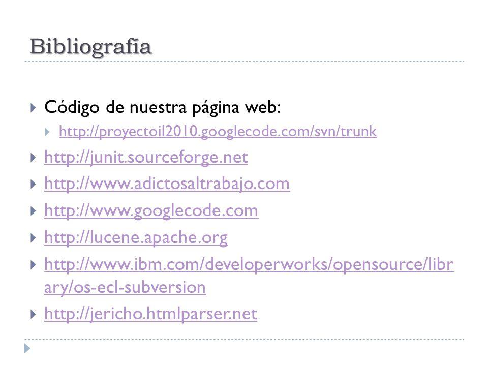 Bibliografía Código de nuestra página web: http://proyectoil2010.googlecode.com/svn/trunk http://junit.sourceforge.net http://www.adictosaltrabajo.com http://www.googlecode.com http://lucene.apache.org http://www.ibm.com/developerworks/opensource/libr ary/os-ecl-subversion http://www.ibm.com/developerworks/opensource/libr ary/os-ecl-subversion http://jericho.htmlparser.net