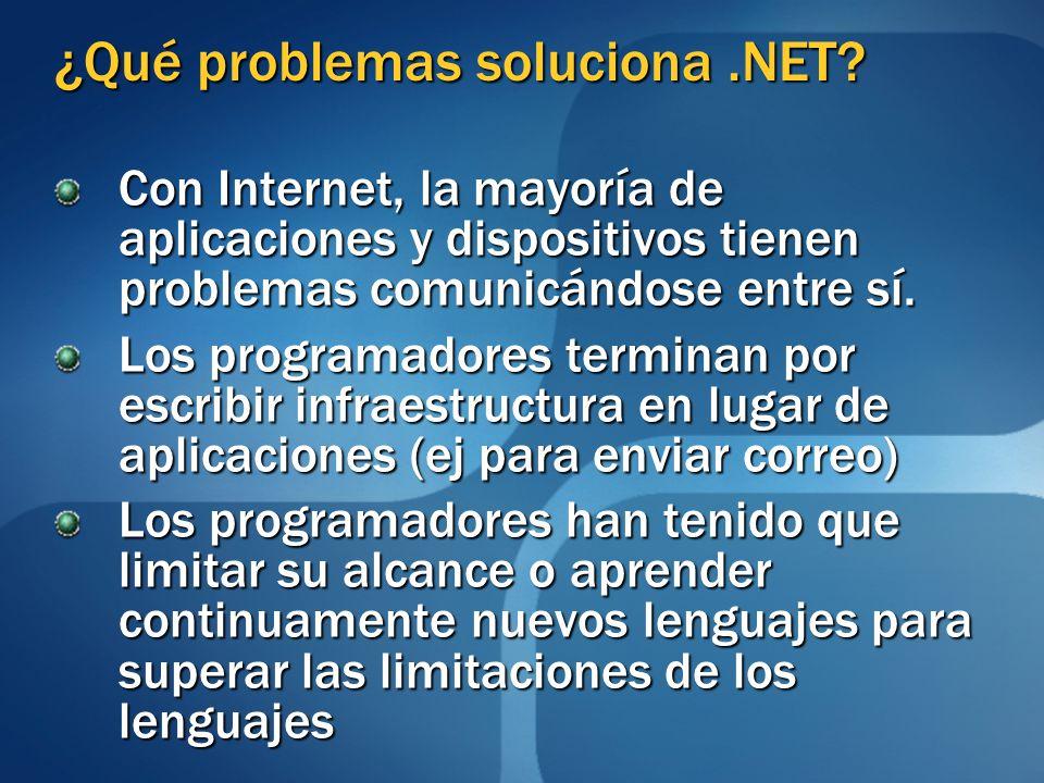 ¿Qué problemas soluciona.NET? Con Internet, la mayoría de aplicaciones y dispositivos tienen problemas comunicándose entre sí. Los programadores termi