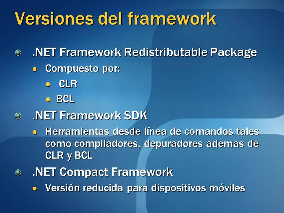 Versiones del framework.NET Framework Redistributable Package Compuesto por: Compuesto por: CLR CLR BCL BCL.NET Framework SDK Herramientas desde línea