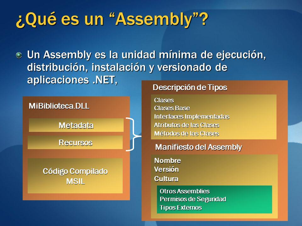 ¿Qué es un Assembly? Un Assembly es la unidad mínima de ejecución, distribución, instalación y versionado de aplicaciones.NET, Metadata Código Compila