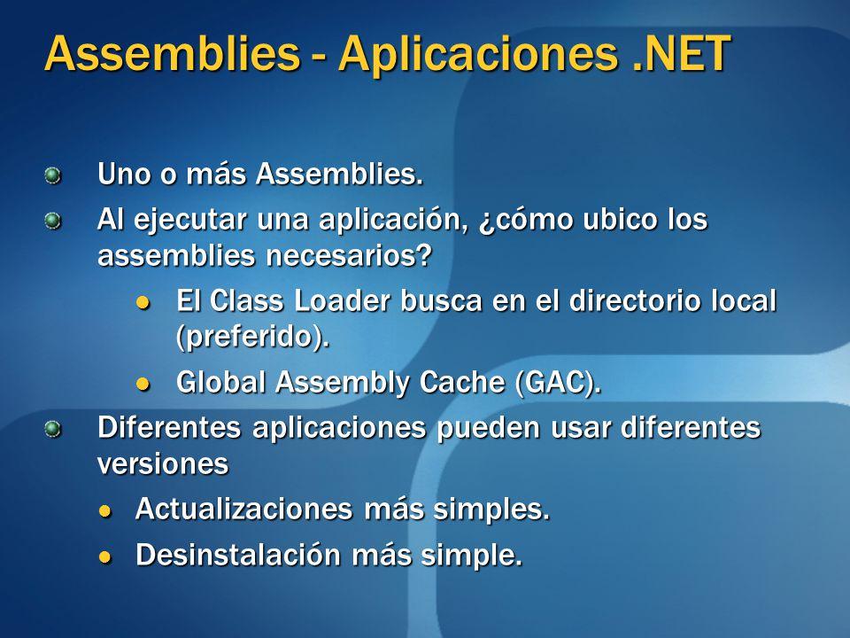 Assemblies - Aplicaciones.NET Uno o más Assemblies. Al ejecutar una aplicación, ¿cómo ubico los assemblies necesarios? El Class Loader busca en el dir