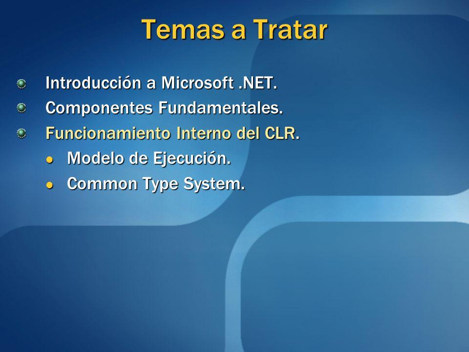 Temas a Tratar Introducción a Microsoft.NET. Componentes Fundamentales. Funcionamiento Interno del CLR. Modelo de Ejecución. Modelo de Ejecución. Comm