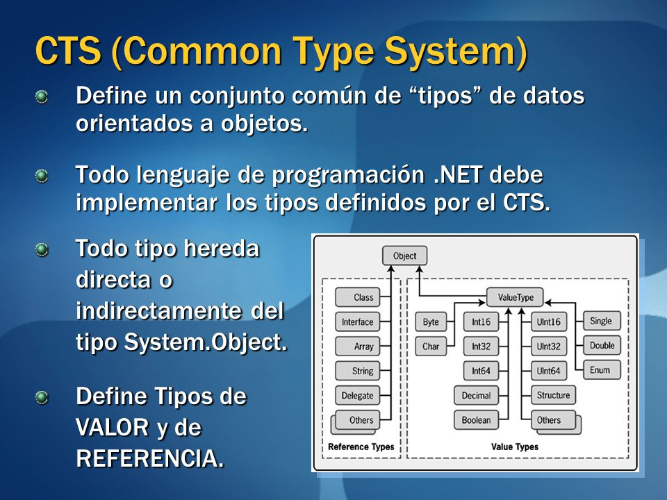 CTS (Common Type System) Define un conjunto común de tipos de datos orientados a objetos. Todo lenguaje de programación.NET debe implementar los tipos