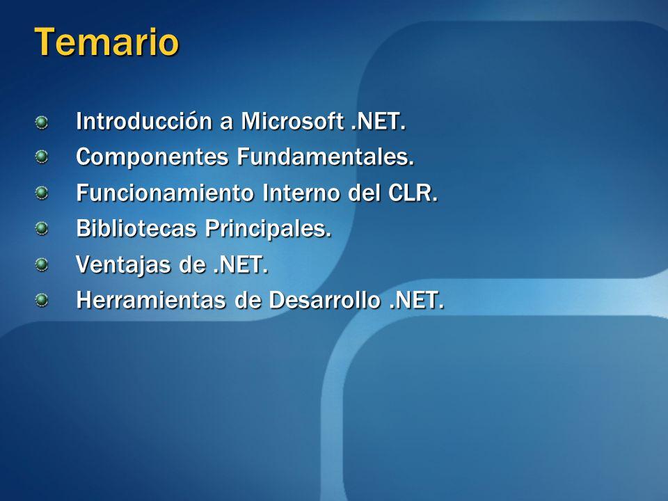 Temario Introducción a Microsoft.NET. Componentes Fundamentales. Funcionamiento Interno del CLR. Bibliotecas Principales. Ventajas de.NET. Herramienta