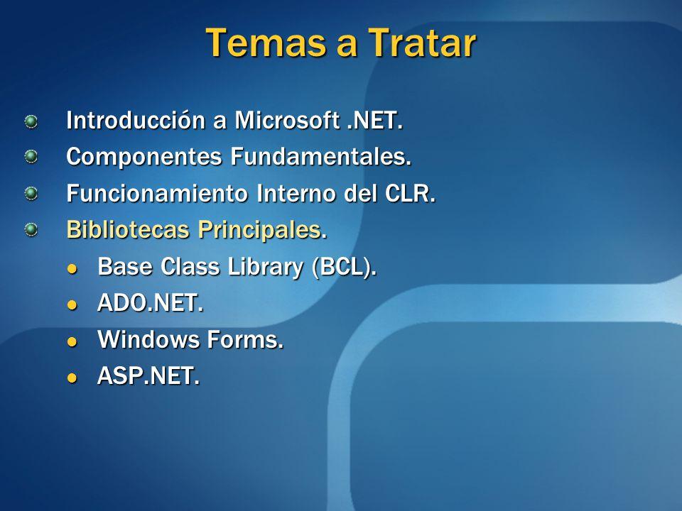 Temas a Tratar Introducción a Microsoft.NET. Componentes Fundamentales. Funcionamiento Interno del CLR. Bibliotecas Principales. Base Class Library (B